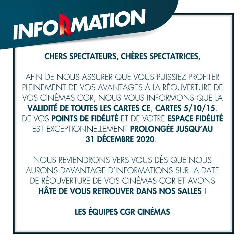 Prolongation date validite cartes cinemas CGR